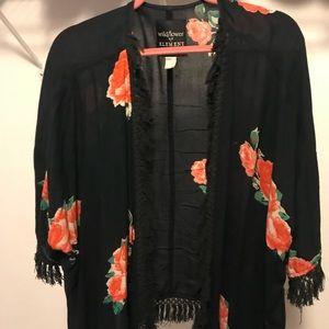 Black fringe and floral kimono